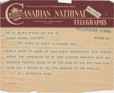 Telegraph from William Lyon Mackenzie King to Major George A. Heather, March 29, 1946