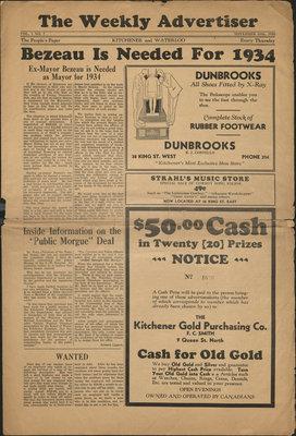 The Weekly Advertiser - Vol. 1, no. 7, 16 November 1933