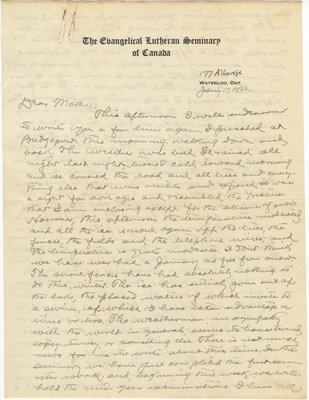 Letter from C. H. Little to Candace Little, January 17, 1932