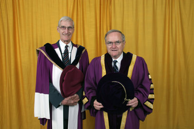 Don Morgenson and Robert Rosehart, Wilfrid Laurier University spring convocation, 2006