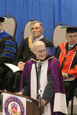 Don Morgenson speaking at Wilfrid Laurier University spring convocation, 2006