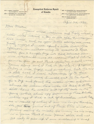 Letter from C. H. Little to Candace Little, April 24, 1932