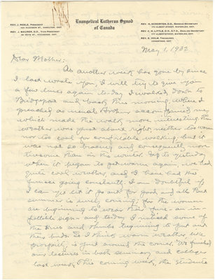 Letter from C. H. Little to Candace Little, May 1, 1932