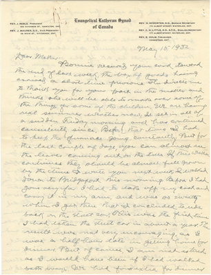 Letter from C. H. Little to Candace Little, May 15, 1932