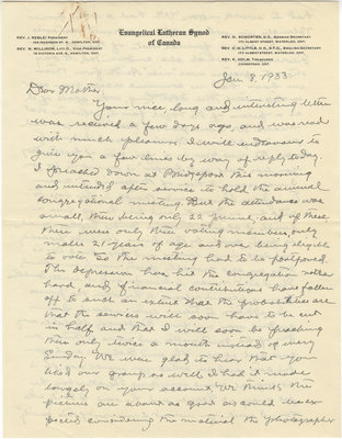 Letter from C. H. Little to Candace Little, January 8, 1933
