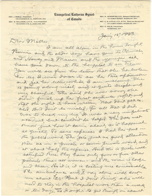 Letter from C. H. Little to Candace Little, January 15, 1933