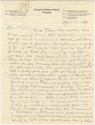 Letter from C. H. Little to Candace Little, April 23, 1933