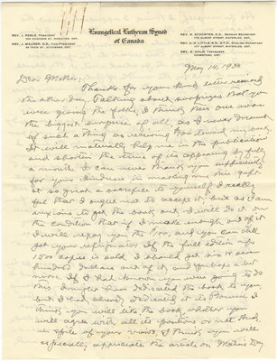 Letter from C. H. Little to Candace Little, May 14, 1933