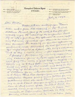 Letter from C. H. Little to Candace Little, July 9, 1933