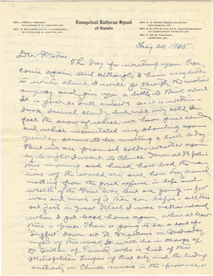 Letter from C. H. Little to Candace Little, February 24, 1935