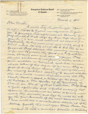Letter from C. H. Little to Candace Little, March 4, 1934