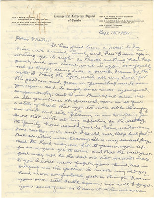 Letter from C. H. Little to Candace Little, September 15, 1935