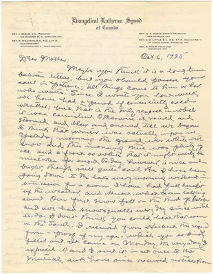 Letter from C. H. Little to Candace Little, October 6, 1935