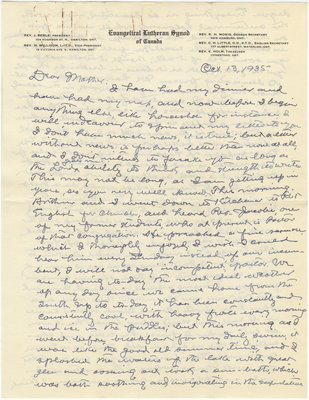 Letter from C. H. Little to Candace Little, October 13, 1935