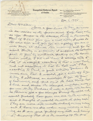 Letter from C. H. Little to Candace Little, December 1, 1935