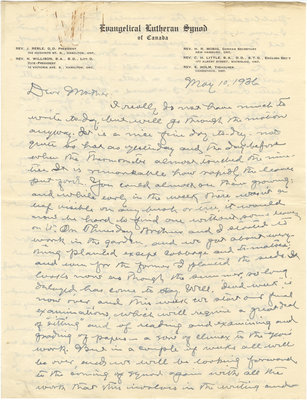 Letter from C. H. Little to Candace Little, May 10, 1936