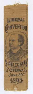 Liberal convention delegate ribbon, 1893