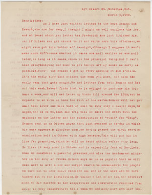 Letter from C. H. Little to Candace Little, March 9, 1940
