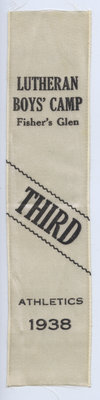 Third place ribbon, Track and Field, Lutheran Boys' Camp, 1938
