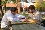Two students studying on campus 2003