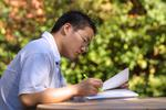 Student studying on campus 2003