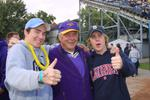 Don Smith and fans at Wilfrid Laurier University Homecoming football game, 2003