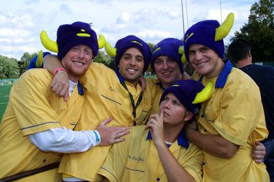 Fans at tailgate party at Wilfrid Laurier University Homecoming 2003