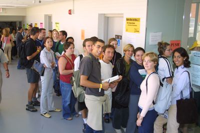 Students standing in line at One Card office, 2001