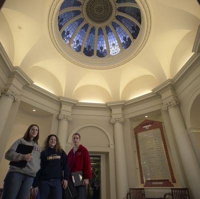 Students in Carnegie Building, 2002