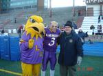 Golden Hawk Mascot, Andrew Argo and Robert Rosehart at Uteck Bowl, 2005
