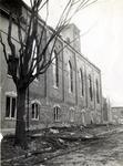 Exterior fire damage, St. John's Lutheran Church, Waterloo, Ontario