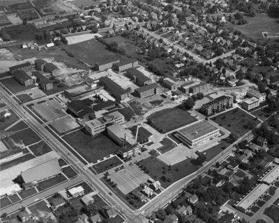 Aerial view of Waterloo Lutheran University, 1966