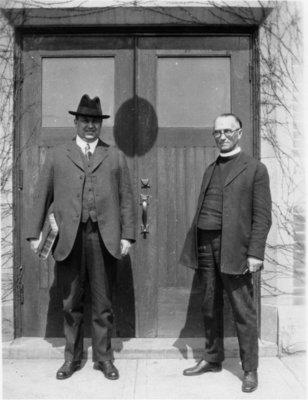 Austin A. Zinck and C.H. Little standing in Willison Hall doorway