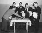 Five male Waterloo College Boarding Club members