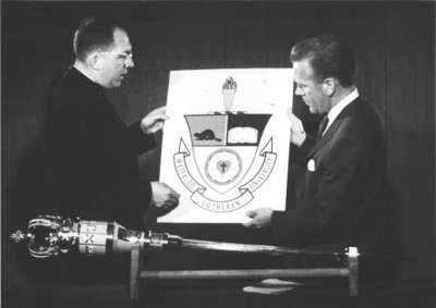 Waterloo Lutheran University coat of arms and mace