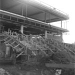 Construction of front steps of the Waterloo Lutheran University Library
