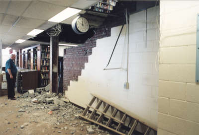 Wilfrid Laurier University Library interior during 2002 renovation