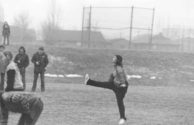 Powder puff football game during Winter Carnival 1973