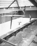 A man and woman on the diving boards of the Athletic Complex swimming pool, Wilfrid Laurier University