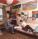 Two male students in residence room