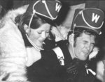 Male and female Waterloo Lutheran University football fans at the 1968 Canadian College Bowl