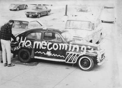 Car decorated for Waterloo Lutheran University Homcoming, 1969