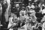 Earle Shelley and cheerleaders at Homecoming 1984 football game