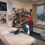 Two women in residence room, Wilfrid Laurier University
