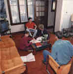 Students in residence common room, Wilfrid Laurier University