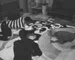 Students creating a mural for Waterloo Lutheran University Homecoming 1967