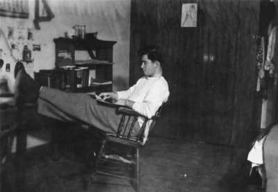 Reg Haney in dormitory room