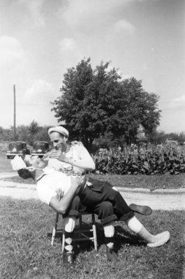 Two Waterloo College freshmen during initiation week, 1947
