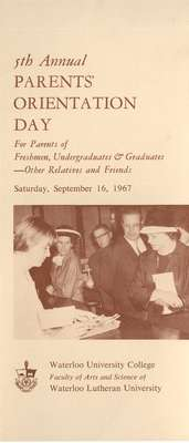 5th Annual Parents' Orientation Day for parents of freshmen, undergraduates & graduates - other relatives and friends : Saturday, September 16, 1967