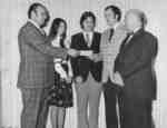 Frank Peters presenting Brent Scholarships, 1975